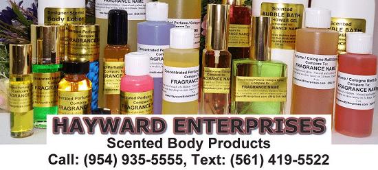 Hayward Enterprises Perfume Body Oils, Sprays, Lotion and More.